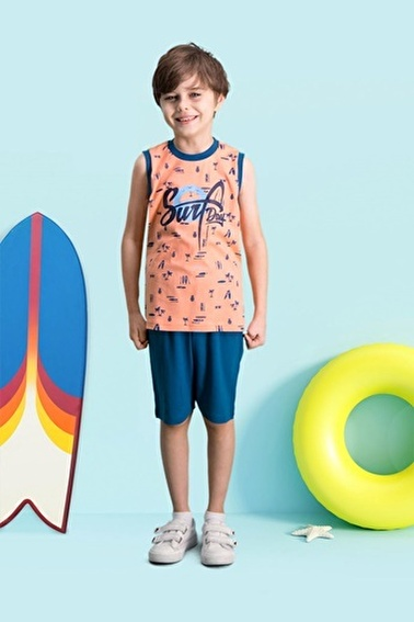 Roly Poly  Surf Day Mint Yeşili Erkek Çocuk Bermuda Takım Pembe